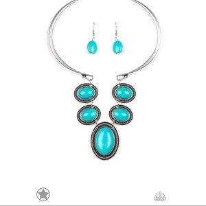 "Silver ""River Ride Necklace Earrings Set"